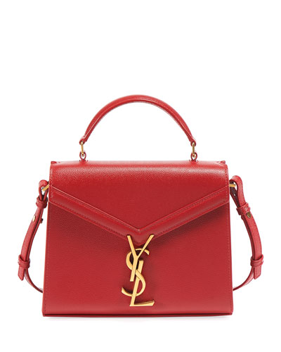 Cassandre Small YSL Monogram Grain Leather Top-Handle Bag - Golden Hardware
