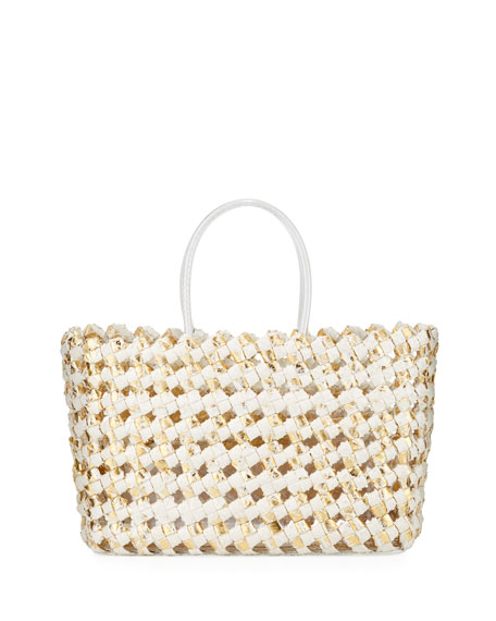 Nancy Gonzalez Medium Woven Python Tote Bag