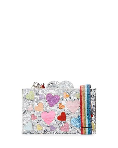 Girl's Scattered Rainbow Hearts Acrylic Clutch Box Bag w/ Metallic Web Strap