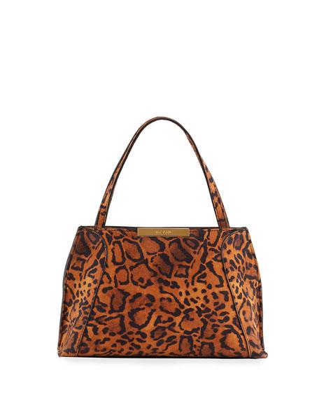 BY FAR Charlotte Leopard-Print Suede Shoulder Bag