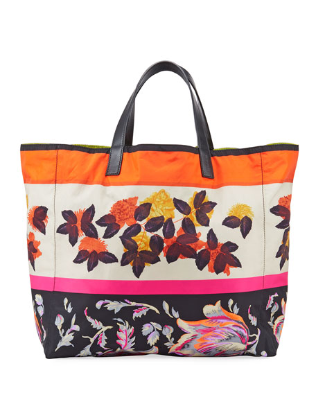 Etro Reversible Floral-Print Nylon Shopper Tote Bag