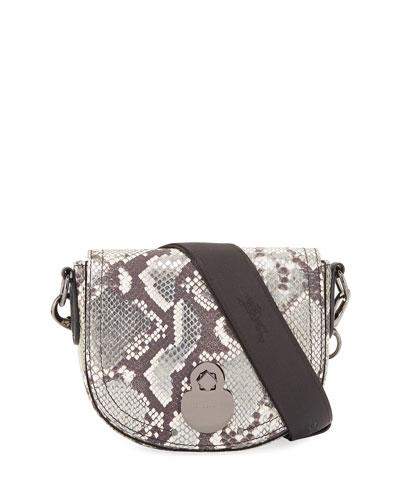 Cavalcade Small Python-Embossed Crossbody Bag