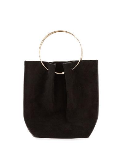 Flat Micro Circle Bag in Suede