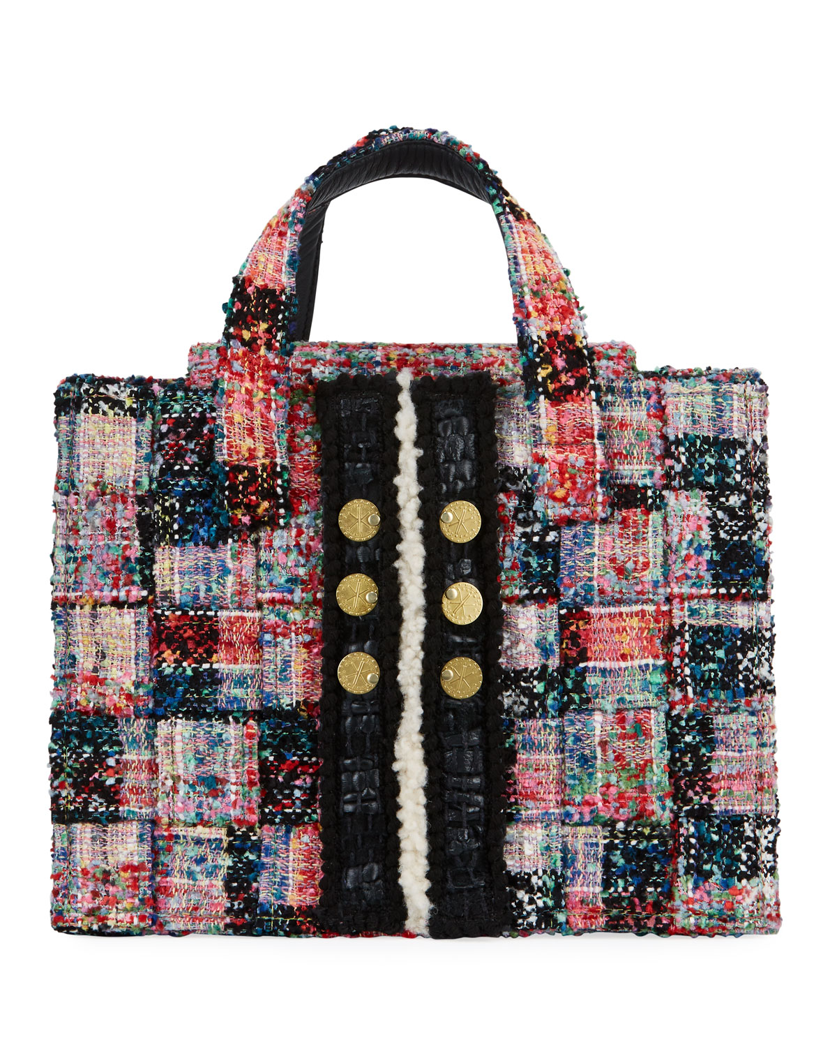 Kooreloo Diana Pixel Tweed Book Tote Bag In Red Pattern