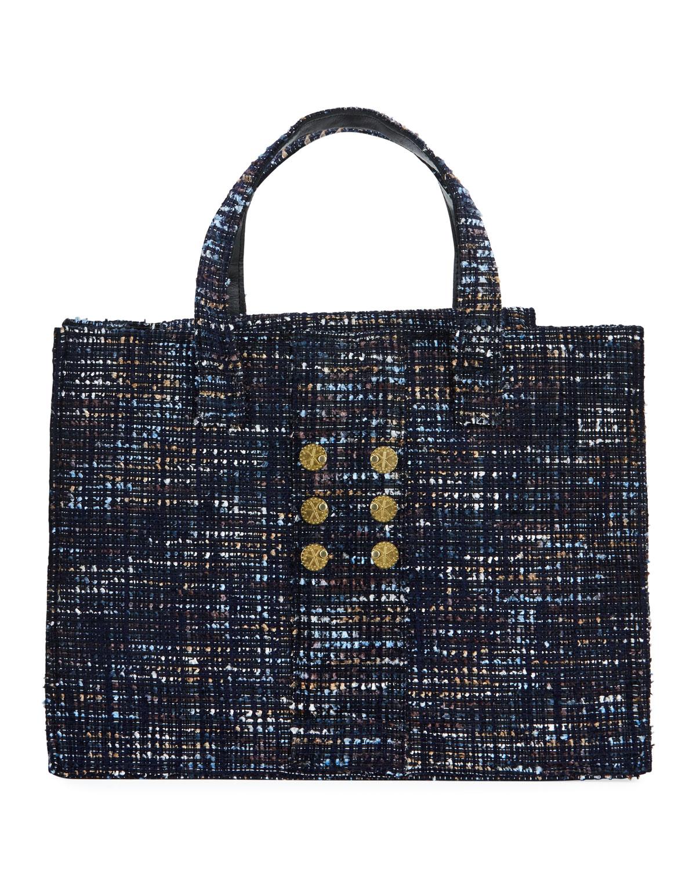 Kooreloo Tweed Book Tote Bag In Blue Pattern