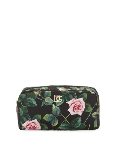 Floral Nylon Cosmetics Pouch Bag