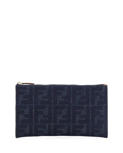 Medium FF Jeans Reactive Flat Pouch Bag
