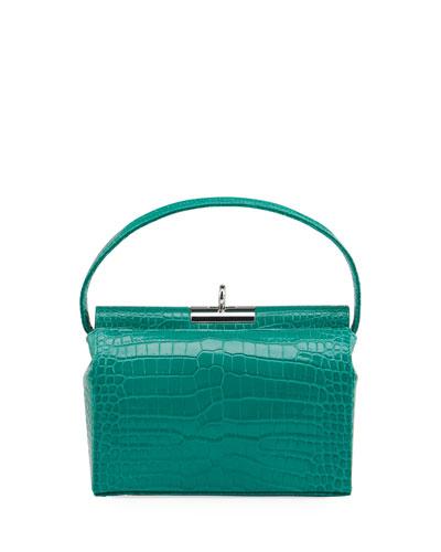 Milky Shiny Croc-Embossed Top-Handle bag