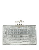 Alexander McQueen Skull Four-Ring Flat Metallic Clutch Bag