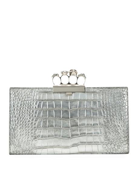 Alexander McQueen Skull Four-Ring Flat Metallic Clutch Bag