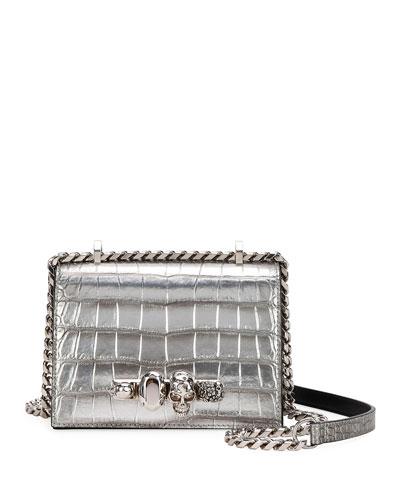 Small Jeweled Croc-Embossed Shoulder Bag