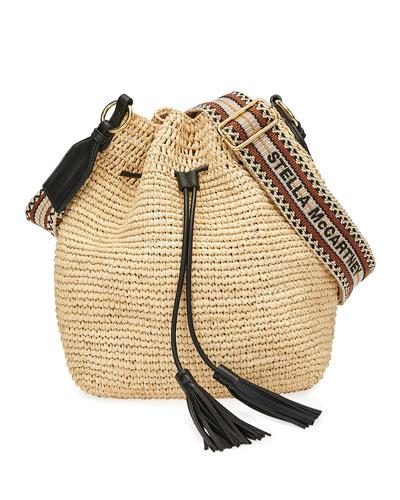 Personalized Safari Bucket Tote w//Genuine Leather Trim Regular w//Front Design