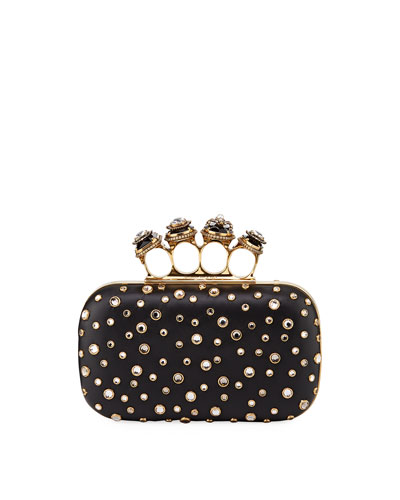 Four-Ring Studded Leather Clutch Bag