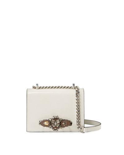 Snake-Embossed Jeweled Four-Ring Shoulder Bag