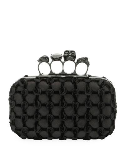 Jeweled Velvet Grid Four-Ring Box Clutch Bag