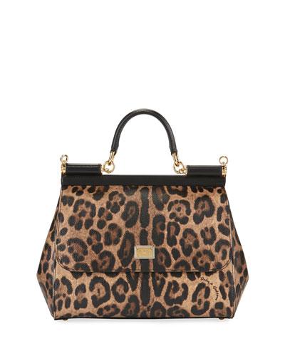 Sicily Medium Leopard-Print Satchel Bag