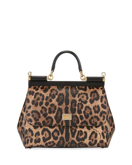 Dolce & Gabbana Sicily Medium Leopard-Print Satchel Bag