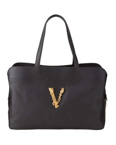 Versace Virtus Logo Medallion Tote Bag