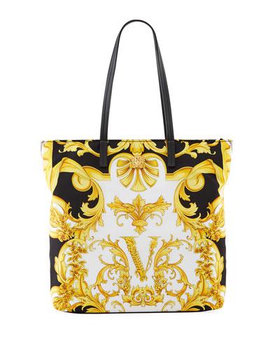 Signature Club A Gold and Black Zig-Zag Shopper Tote Bag