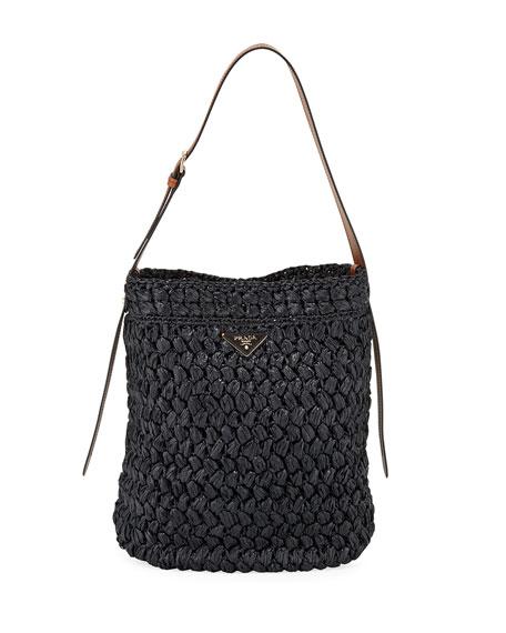 Prada Large Raffia Bucket Bag
