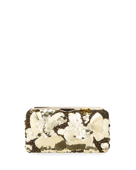 Jimmy Choo Ellipse Floral Sequin Clutch Bag
