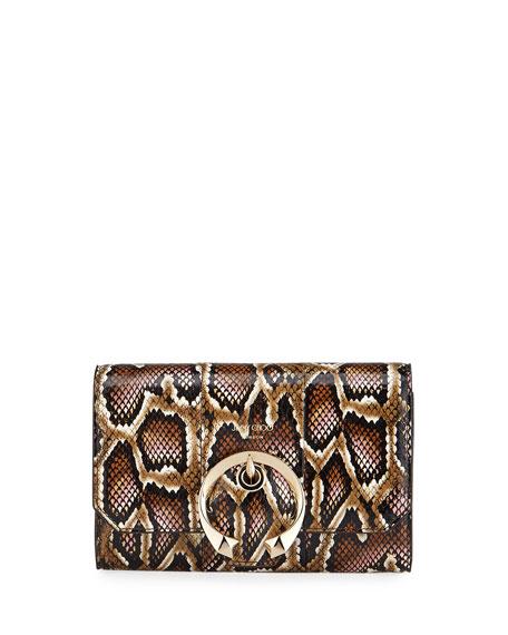 Jimmy Choo Madeline Mini Glossy Printed Snake Crossbody Wallet
