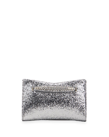 Jimmy Choo Venus Glitter Fabric Clutch Bag