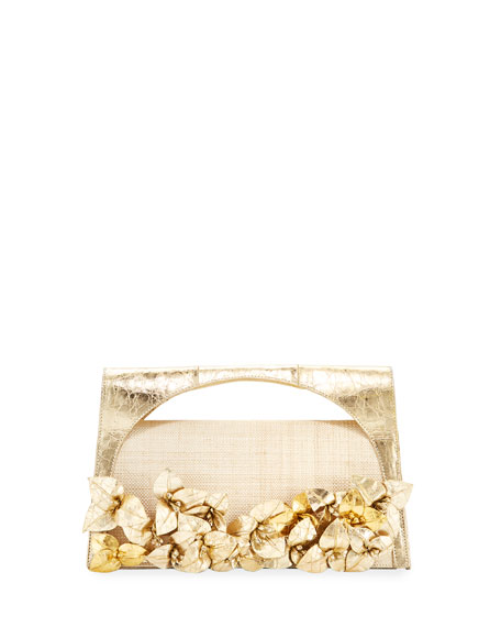 Nancy Gonzalez Sammy Floral Woven Straw & Crocodile Top-Handle Bag