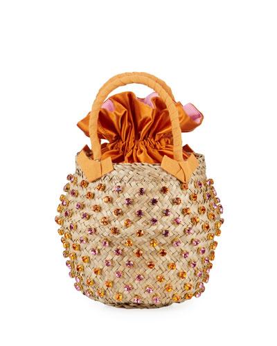 Nina Twist Small Satin-Lined Bucket Bag