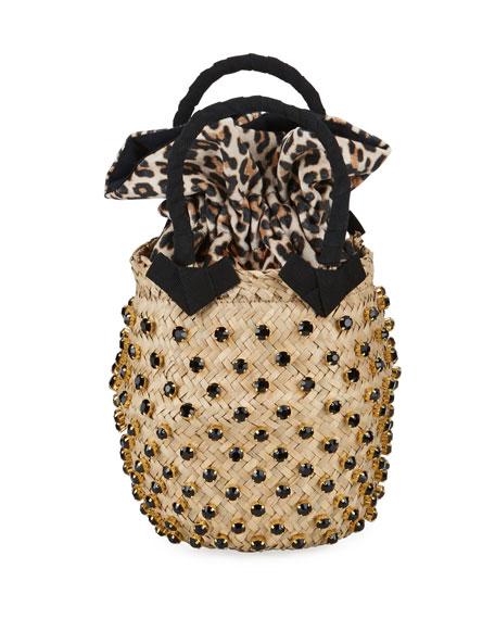 Le Nine Nina Twist Small Leopard Bucket Bag