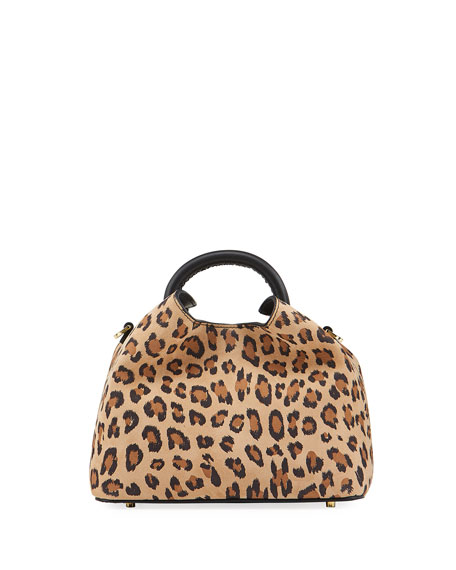 Elleme Baozi Leopard-Print Leather Top-Handle Bag