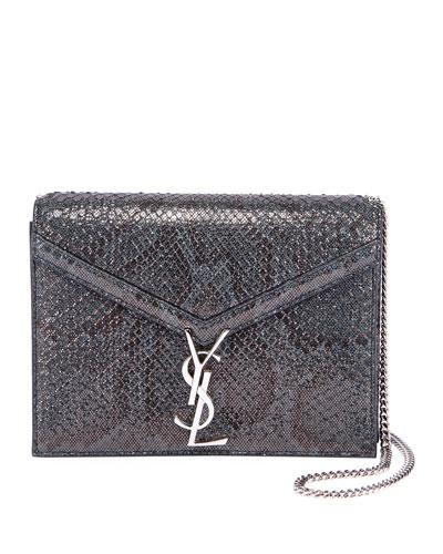 Cassandra Small Python Flap-Top Crossbody Bag