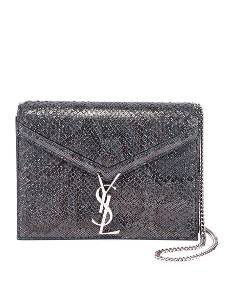 Saint Laurent Cassandra Small Python Flap-Top Crossbody Bag