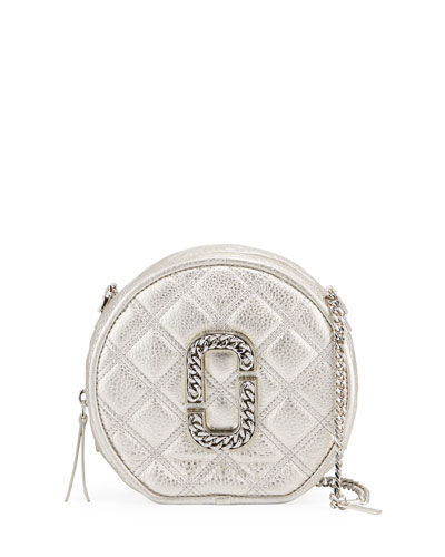 Round Metallic Leather Crossbody Bag