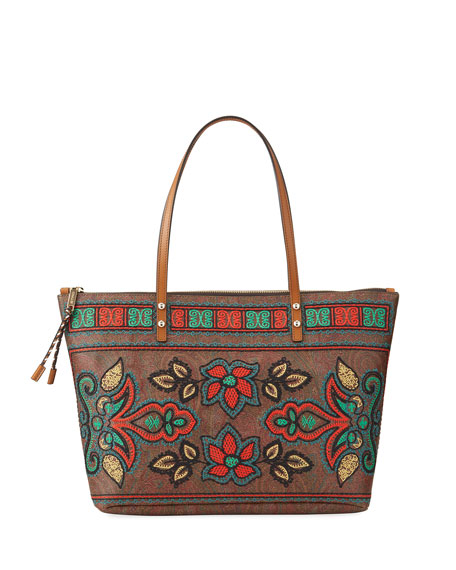 Etro Embroidered Shopper Tote Bag