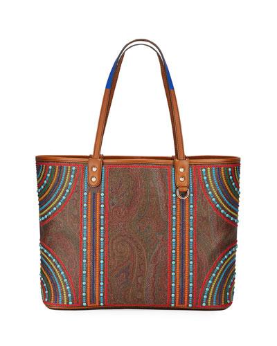 Large Paisley Beaded Shopping Tote Bag