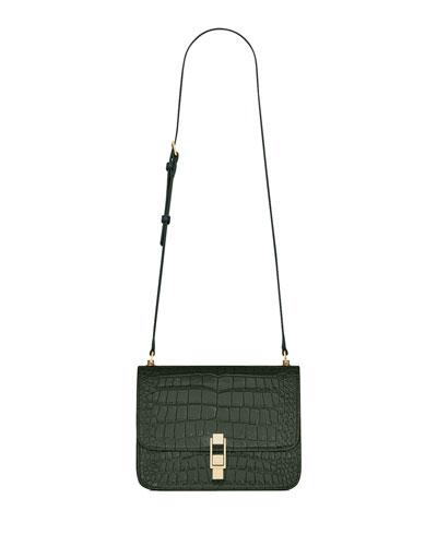 Carre Medium Croc-Embossed Crossbody Bag