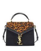 Saint Laurent Cassandra Mini Suede Leopard Top-Handle Bag