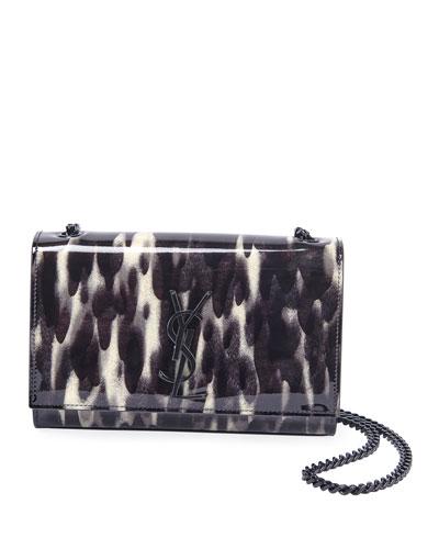 Kate Small Abstract Animal-Print Crossbody Bag, Matte Black Hardware