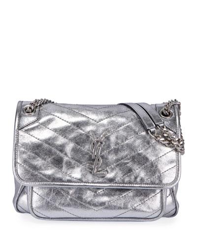Niki Medium Vintage Calfskin Flap-Top Shoulder Bag