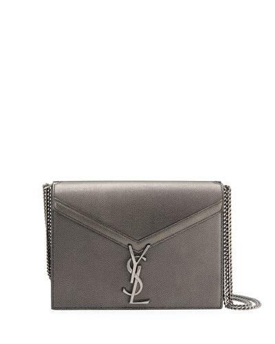 Cassandra Small Antique Calfskin V-Flap Crossbody Bag, Ruth Hardware