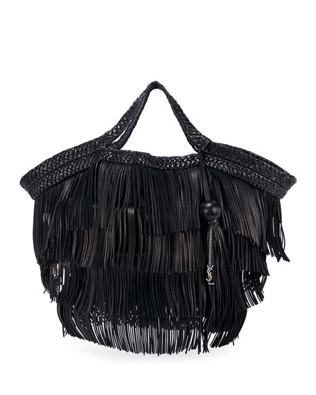 Saint Laurent Panier Fringes Large Tote Bag w/ Tassel