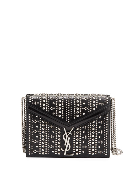 Saint Laurent Cassandre Small YSL Monogram Striped Stud Crossbody Bag
