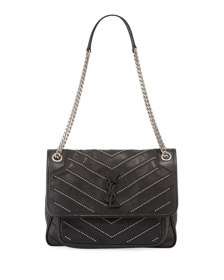 Saint Laurent Niki Medium Chevron Stud Calfskin Shoulder Bag