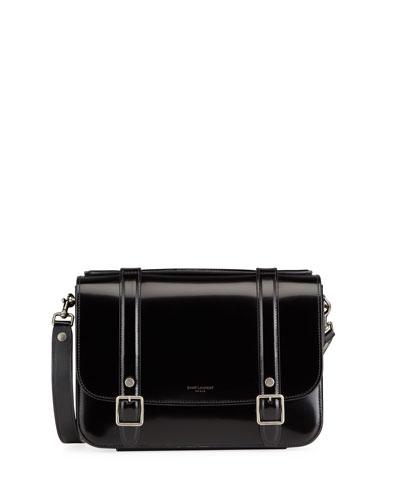 Schoolbag Medium Shiny Leather Crossbody Bag