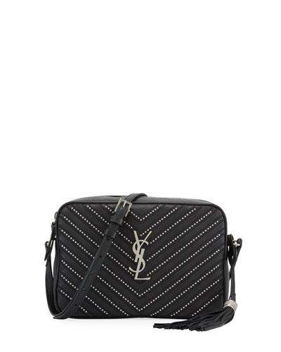 Lou Medium YSL Monogram Stud Chevron Leather Camera Bag