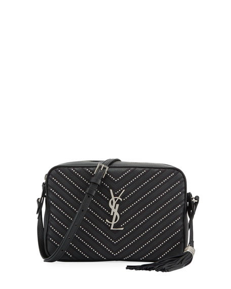 Saint Laurent Lou Medium YSL Monogram Stud Chevron Leather Camera Bag