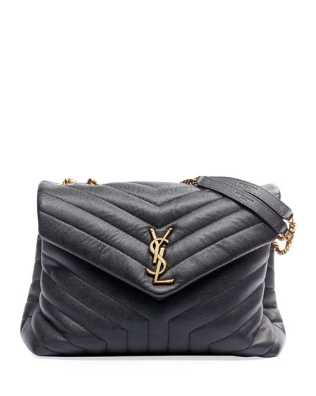 Saint Laurent Loulou Medium YSL Monogram Pebbled Leather Flap Shoulder Bag