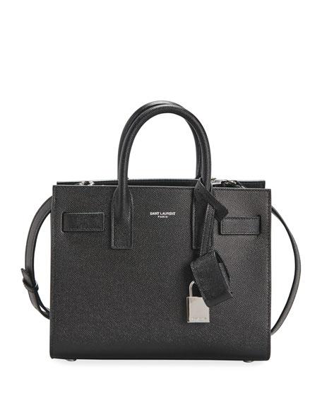 Saint Laurent Sac de Jour Nano Grain de Poudre Tech Leather Satchel Bag