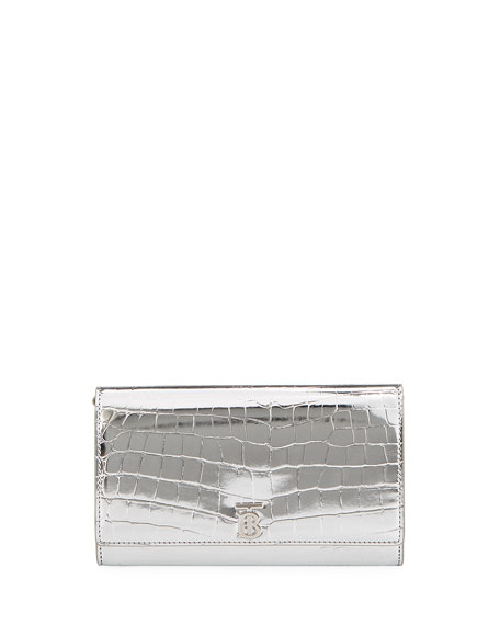 Burberry Hannah Chain Metallic Faux Croc Bag